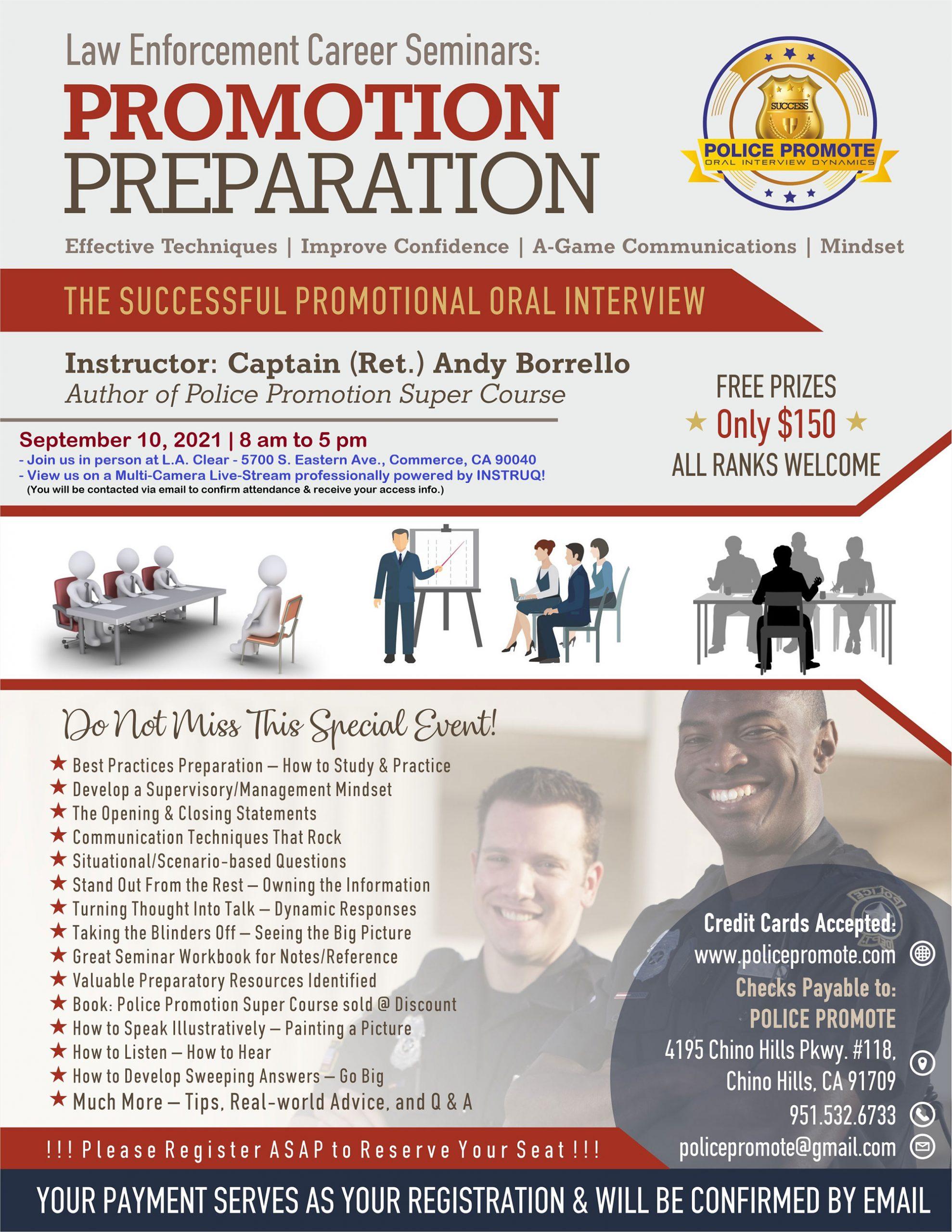 police promotion seminar commerce california